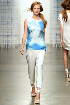 Wave Collage Silk Top and White Track Pant with Wave Collage Stripe