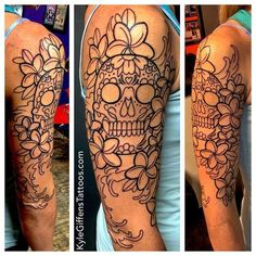 An in progress shot of a sugar skull half sleeve I'm currently tattooing. I, Kyle Giffen am the artist. Austin TX at Little Pricks Tattoo