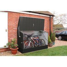 W x 3 ft. D Metal Horizontal Bike Shed - Fahrrad Plastic Storage Sheds, Wooden Storage Sheds, Storage Shed Plans, Carport Storage, Outdoor Bike Storage, Bicycle Storage, Range Velo, Range Buche, Steel Sheds