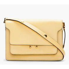 MARNI Butter Yellow Leather Shoulder Bag ($1,400) ❤ liked on Polyvore