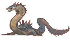 View an image titled 'Sea Dragon Lagiacrus Art' in our Monster Hunter 3 (tri-) art gallery featuring official character designs, concept art, and promo pictures. Water Dragon, Sea Dragon, Dragon Art, Mythological Creatures, Fantasy Creatures, Mythical Creatures, Creature Concept Art, Creature Design, Monster Hunter 3rd