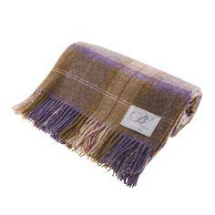 Bronte - Bronte Skye Check Pure New Shetland Wool Throw: Grape - Dunedin Cashmere