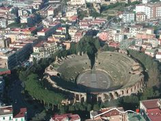 Pozzuoli amphitheatre from the air Roman Architecture, Roman Art, Ancient Rome, Amalfi Coast, Romans, Fresco, Archaeology, Naples Italy, City Photo
