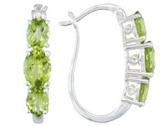 Qinpei Peridot 6.80ctw Oval Sterling Silver Earrings