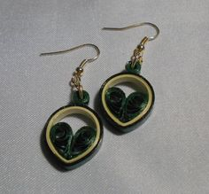 Dark Green and Ivory Small 1 Teardrop Heart 2K by RheasOriginals
