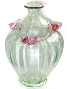 Venetian Murano Salviati Three Fish Soffiati Vase 1900s