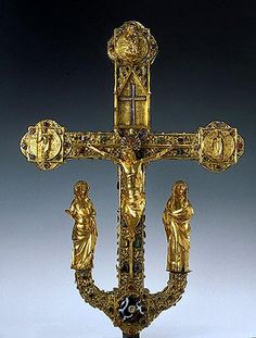 Processional cross of St Trudpert, known as the Freiburg Cross    After 1280    Strasbourg, Upper Rhine    Gold, silver, cloisonne enamel, glass, precious and semiprecious stones