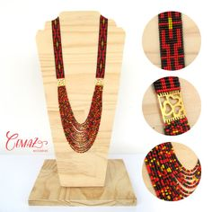 Items similar to Collar tejido en telar, mostacillas en negro rojo y dorado con placa  // Beadwork necklace on loom, black red and gold beads on Etsy