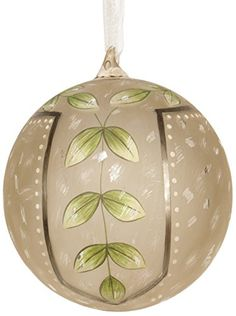 Sage & Co.  Hand Painted Glass Ball Ornament