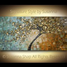 ORIGINAL Large Contemporary Textured Tree Painting Modern Palette Knife Cherry Blossom by Susanna Shap Ready to Hang Gallery Canvas 48x24