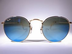 M VINTAGE SUNGLASSES COLLECTION: BAUSCH LOMB RAY BAN ROUND BLUE MIRROR MADE IN USA