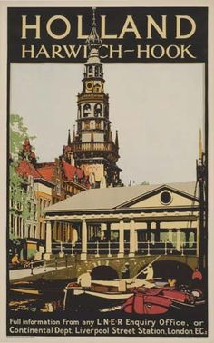 Vintage Travel Poster - Holland - Harwich-Hook -  by Fred Taylor.