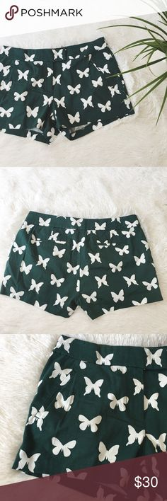 NWT j. crew butterfly shorts NWT j crew butterfly shorts. Dark green and white. Size 4 J. Crew Shorts Jean Shorts