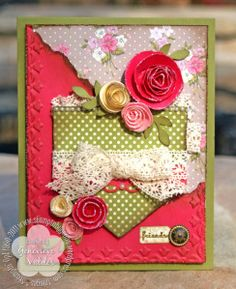Stampin' Up! Card by Genevieve Valdes at Stampin' by Genny Love the rolled roses. Homemade Birthday Cards, Homemade Cards, Scrapbooking, Scrapbook Cards, Cricut Cards, Stampin Up Cards, Shabby Chic Cards, Making Greeting Cards, Beautiful Handmade Cards