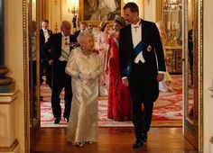 King Felipe and Queen Letizia, Prince William, Duchess Catherine of Cambridge, Prince Harry, Duchess Camilla wore Marchesa gown, Carolina herrera red dress gold diamond tiara
