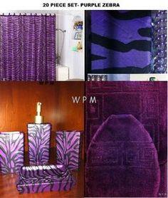 Complete Bath Accessory Set U0026 Purple Bathroom Rugs U0026 Zebra Print Shower  Curtain
