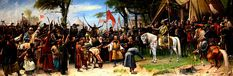 """Mihály Munkácsy: """"The Conquest of the country"""" (Hungarian conquest of the Carpathian Basin) oil on canvas, Dimensions: Height: 459 cm in). Width: cm in), Current location: Parliament of Hungary Budapest. Amber Tree, Saint Stephen, Folk Dance, Old Master, Western Art, Genetics, Art Reproductions, Famous People, Oil On Canvas"""