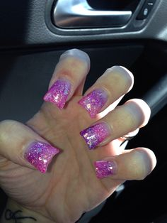 Pink and purple fade glitter sculptured acrylic nails by Angela B. In Spokane Wa!!