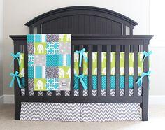 Custom Crib bedding Turquoise Grey and Lime by GiggleSixBaby Elephant Bedding, Crib Bedding, Blue Crib, Baby Blue, Bright Nursery, Interior Decorating, Decorating Ideas, Patchwork Blanket, Crib Skirts