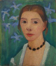 Datei:Paula Modersohn-Becker Selbstbildnis vor grünem Hintergrund mit blauer Iris, um 1905