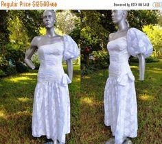 SALE 30% OFF One Sleeve 80s Prom Dress80s Wedding Dress