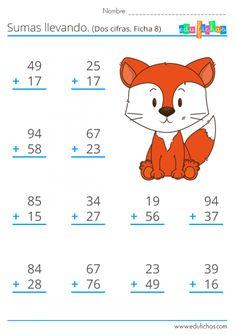 ▷ Sumas llevando   Fichas Gratis de sumas para Niños   Primaria Math Addition Worksheets, Math Practice Worksheets, First Grade Math Worksheets, Math Workbook, School Worksheets, 1st Grade Math, Abacus Math, Preschool Learning Activities, Math Practices