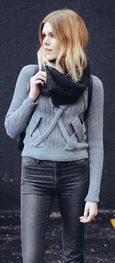 #winter #fashion /  Black Scarf / Grey Knit / Black Skinny Jeans