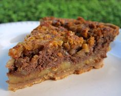 Chocolate Cheesecake Pecan Pie - chocolate cheesecake and pecan pie all in one pie!
