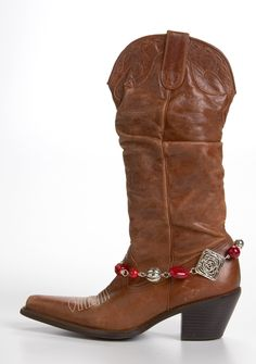 Red & Silver Boot Bling - Jewelry Accent to your Boots - Boot Jewelry. $15.00, via Etsy.