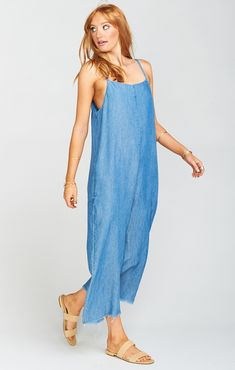 Loose and free is the way to be! Mama T Overalls aren't restricting or confining. They just let you be you! Skinny mini straps over both shoulders Not coming unraveled, just a little frayed at the end. Cut just right to be worn all alone, or layered on top of a Geri Tee or a tight turtleneck.