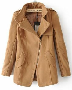 Camel Long Sleeve Lapel Oblique Zip Coat