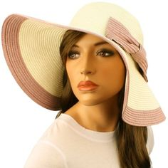 "50+ UPF Beach Summer Ribbon Bow Wide 4-3/4"" Brim Floppy Sun Hat Cap Ivory Pink $24.95"