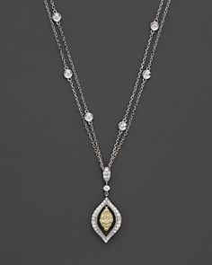 Yellow and White Diamond Teardrop Pendant in 14K White and Yellow Gold, 0.80 ct. t.w.