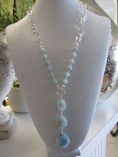 Aquamarine And Sterling Silver Artisan Necklace by JKCustomDesigns