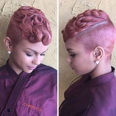 FLASHBACK FRIDAY| In love with this #fbf blush colored #pixiecut ✂️ on @kaylalaaaa_ styled by #dmvsalon @salonchristol Gorgeous #voiceofhair