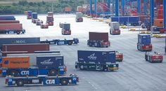 Container Transport, Basel, Times Square, Transportation, Autos, Vehicles
