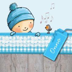Lief geboortekaartje voor als u een kindje in de winter verwacht. Trendy hout met blauw geruite strook met kant en lief jongetje met blauwe muts dat over het randje kijkt.