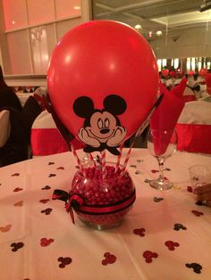 DIY Mickey Mouse centerpiece Mickey Mouse Baby Shower, Mickey Mouse Clubhouse Party, Mickey Mouse Clubhouse Birthday, Mickey Mouse Parties, Mickey Party, Mickey Mouse Birthday, Elmo Party, Elmo Birthday, Dinosaur Party