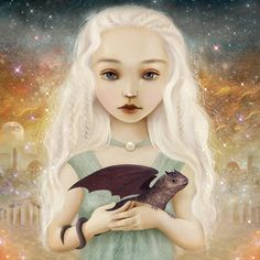 Mother of Dragons 11X11 print -- dragon art, baby dragons, fantasy landscape, Game of Thrones inspired Khaleesi -- 8X8 print