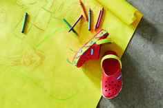 Get your kid's color on with the new Crocs crayola clogs.