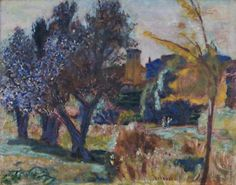 pierre bonnard(1867–1947), landscape with olive trees and a chapel, c.1924. oil on canvas, 48.3 x 61 cm. the courtauld gallery http://www.bbc.co.uk/arts/yourpaintings/paintings/landscape-with-olive-trees-and-a-chapel-207053