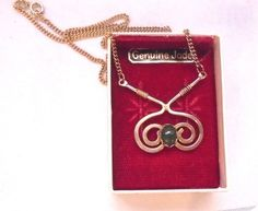Swirl Necklace with Jade Cabochon in Box #Unbranded