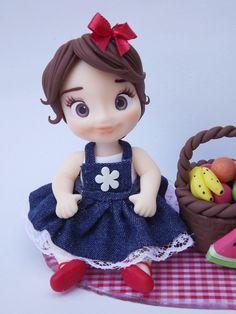 Mini topo no Fondant Figures Tutorial, Cute Kids Pics, Nilla, Pasta Flexible, Girl Cakes, Air Dry Clay, Cold Porcelain, Beautiful Dolls, Cake Toppers