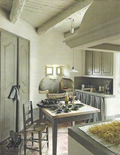 Côté Maison kitchen. Love the rise and fall pendant + stone sink!