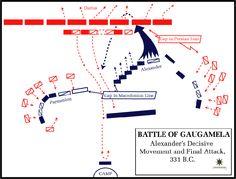 Alexander the Great - Battle of Gaugamela 331 BCE Alexander The Great, Battle Of Gaugamela, Military Tactics, Greek Warrior, Achaemenid, Cartography, Macedonia, Ancient Greece, Ancient History