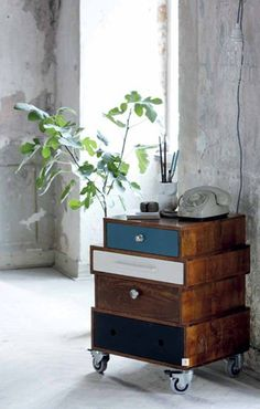 old drawers turned into a side table. i love this idea.