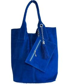 Italian Genuine Suede Leather Purses Forest Blue Bags