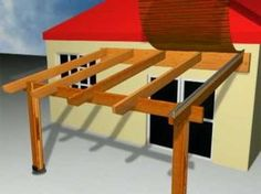 video of building a pergola with covered roof.
