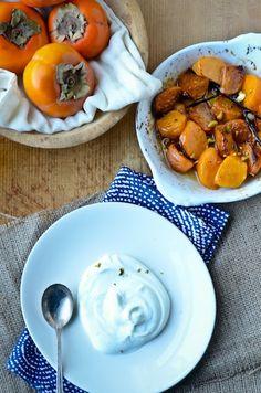 Cardamom roasted persimmons with vanilla yogurt
