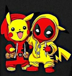 Deadchu (e DeadPool) & PikaPool (e PikaChu) Deadpool Pikachu, Pikachu Art, Cute Pikachu, O Pokemon, Deadpool Funny, Deadpool Quotes, Deadpool Costume, Deadpool Movie, Pokemon Fusion